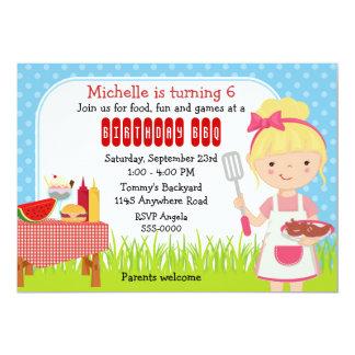 Girls Birthday BBQ 5x7 Paper Invitation Card