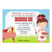 Girls Birthday Cookout 5x7 Paper Invitation Card at Zazzle