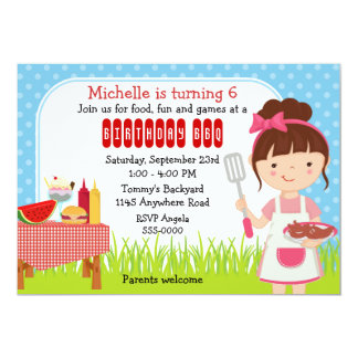 """Girls Birthday Cookout 5"""" X 7"""" Invitation Card"""