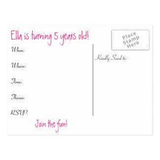 Girls Birthday Invite Post Card
