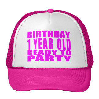 Girls : Birthday One Year Old Ready to Party Mesh Hat