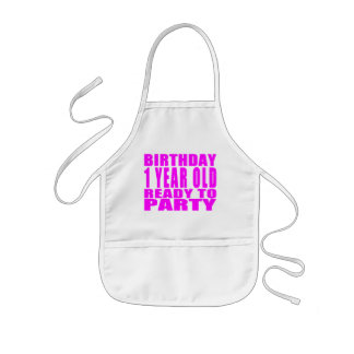 Girls : Birthday One Year Old Ready to Party Kids' Apron