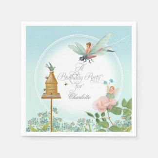 Girls Birthday Party Fairy Garden Floral Theme Paper Napkin