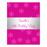 Girls Birthday Party Hot Pink Flowers Announcements