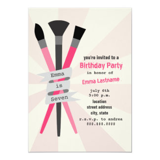 Girl's Birthday Party Invitation - Art Theme Pink