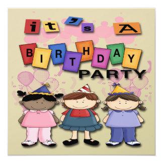 "Girl's Birthday Party Invitations 5.25"" Square Invitation Card"
