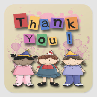 Girl's Birthday Party Thank You envelope seal Square Stickers