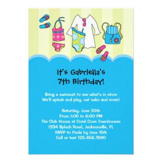 Girls Birthday Pool Party Invitation