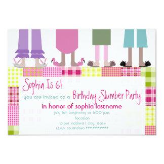 Girls Birthday Slumber Party Sleepover Plaid Card
