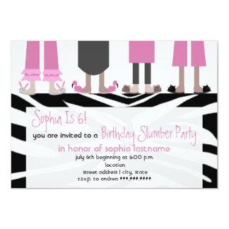 Girls Birthday Slumber Party Sleepover Zebra Card