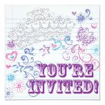 "Girl's Birthday / Sweet 16 Invite 5.25"" Square Invitation Card"