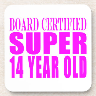 Girls Birthdays B Cert Super Fourteen Year Old Beverage Coasters