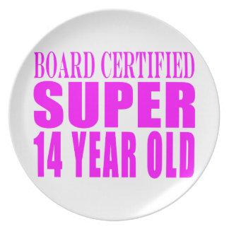 Girls Birthdays B Cert Super Fourteen Year Old Party Plates