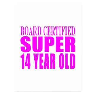 Girls Birthdays B Cert Super Fourteen Year Old Post Card