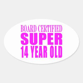 Girls Birthdays B Cert Super Fourteen Year Old Oval Stickers