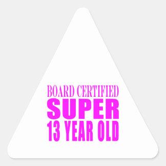 Girls Birthdays B Cert Super Thirteen Year Old Triangle Sticker