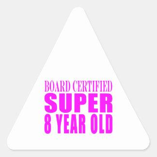 Girls Birthdays B Certified Super Eight Year Old Triangle Stickers