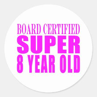 Girls Birthdays B. Certified Super Eight Year Old Stickers