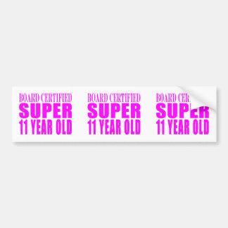 Girls Birthdays B. Certified Super Eleven Year Old Bumper Sticker