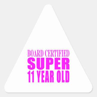 Girls Birthdays B Certified Super Eleven Year Old Triangle Sticker