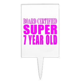 Girls Birthdays B. Certified Super Seven Year Old Cake Topper