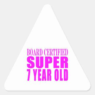 Girls Birthdays B Certified Super Seven Year Old Triangle Stickers