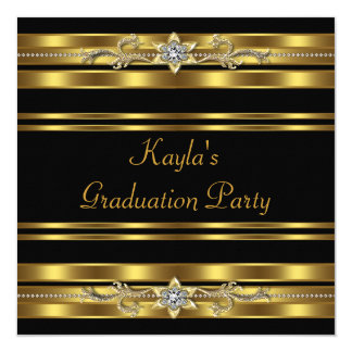 Girls Black and Gold Graduation Party Card