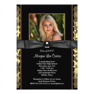 Girls Black and Gold Photo Graduation Announcements