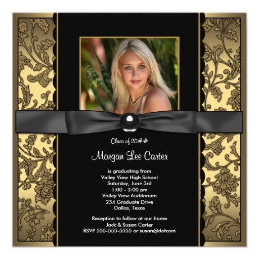 Girls Black and Gold Photo Graduation Custom Invitation