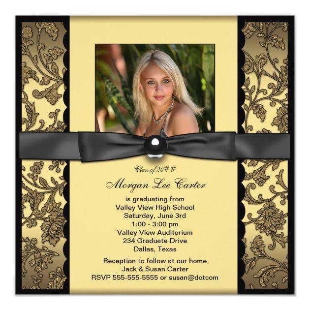 Girls Black and Gold Photo Graduation Invitation
