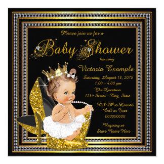 Girls Black Gold High Heel Baby Shower Card