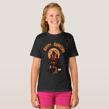 Beach Themed Girl's Black Happy Haunting Halloween Tshirt