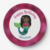 Girls Black Mermaid Faux Foil African American Kid Paper Plate