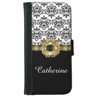 Girls black white damask gems name wallet phone case for iPhone 6/6s