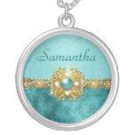 Girls bling damask teal gems custom jewelry