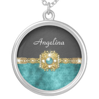 Girls bling gems   Personalized name Round Pendant Necklace