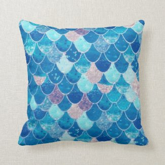 Girl's Blue and Pink Mermaid Scales Throw Pillow