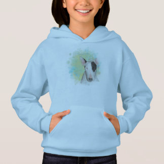 Girls Blue Hoodie with Butterfly Bull Terrier