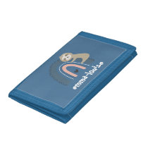 Girl's Blue Sloth Rainbow Name Kid's Trifold Wallet