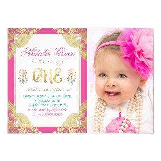 Girls Boho First Birthday Card