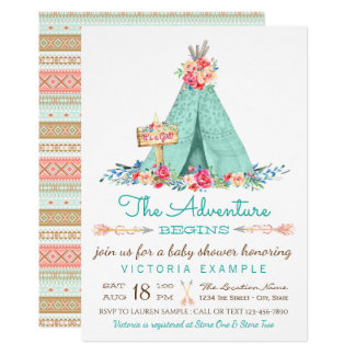 Girls Boho TeePee Baby Shower Invitations