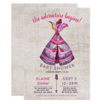 Girls Boho TeePee Baby Shower Invitations