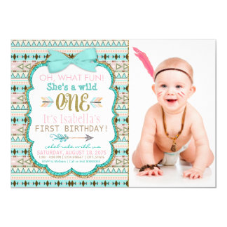Girls Boho Tribal First 1st Birthday Party Card