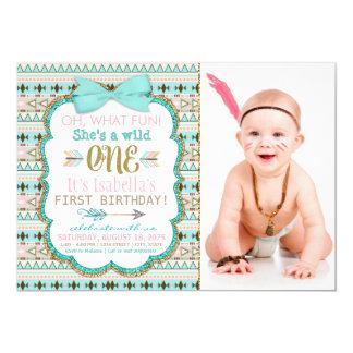 Girls Boho Tribal Wild One 1st Birthday Party Card