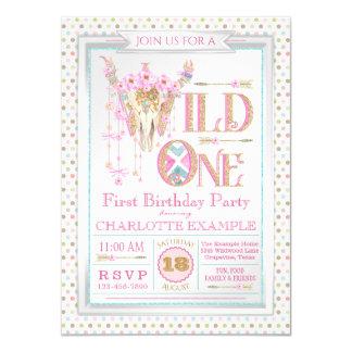 Girls Boho Wild One First Birthday Invitations
