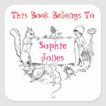 """Girls Bookplate. This Book Belongs To Name Label<br><div class=""""desc"""">Cute bookplate/ name label with a vintage garden/ woodland scene.  You can choose matte or glossy finish.  Remember that you can customise to suit your needs. Change the name to your own child&#39;s name.</div>"""