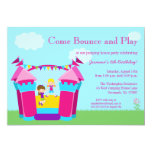 Girl's bounce house birthday party invitation