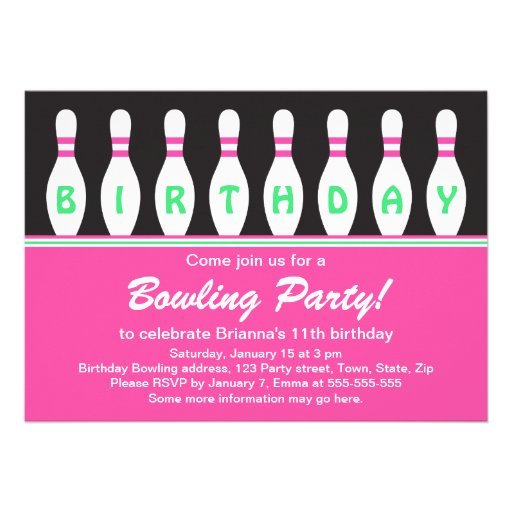 Personalized Birthday bowling party Invitations – 11th Birthday Party Invitations