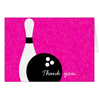 Girls Bowling Birthday Thank You Note Card