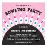 Girls bowling party invite with pins, pink version